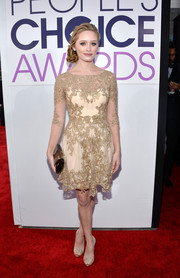 Greer Grammer sealed off her look with embellished nude Rene Caovilla peep-toes that echoed the style of her dress.