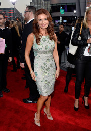 Roma Downey paired nude Mary Janes with her dress for a vintage-chic finish.