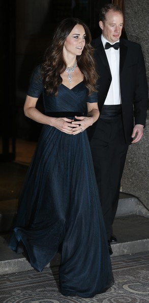 The Duchess of Cambridge reportedly borrowed this stunning diamond necklace from the Queen.
