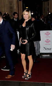 Jenni Falconer looks fabulous in strappy black sandals with gray platforms and heels. She paired the fashionable heels with a leather coat.