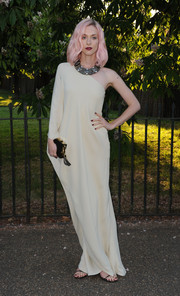 Portia Freeman unleashed her inner goddess in a flowy white one-shoulder gown during the Serpentine Gallery Summer Party.