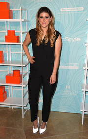 Molly Tarlov chose a simple black jumpsuit with a faux-wrap bodice for the Inspiration Awards.