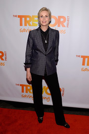 Jane Lynch suited up in a subtly patterned gray jacket for the TrevorLive NY event.