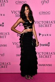 Cindy Brunav rocked two trends in one with this black cutout crop-top at the Victoria's Secret fashion show after-party.