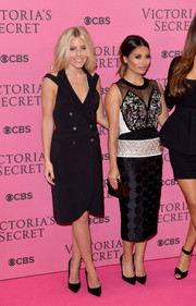 Mollie King was all about easy elegance in an Emporio Armani tux-style LBD during the Victoria's Secret fashion show.