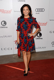 Janice Min looked colorful in her floral frock during the Women in Entertainment Breakfast.