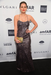 Atlanta de Cadenet brought sparkle to the amfAR New York Gala with this sequined halter gown by Marc Jacobs.