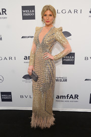 Hofit Golan was all glammed up in sequins and feathers during the amfAR New York Gala.