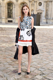 Chiara Ferragni charmed in a Dior floral mini during the label's fashion show.
