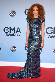 Chaley Rose looked sultry in a fully sequined blue evening dress during the CMA Awards.
