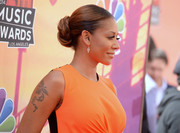 Melanie Brown topped off her iHeartRadio Music Awards look with a classic braided bun.