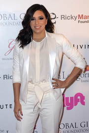 Eva Longoria kept it classic in a white satin-lapel blazer from her label at the Global Gift Foundation USA benefit.