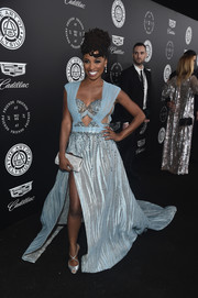 Shanola Hampton opted for silver accessories, including a glamorous beaded clutch.