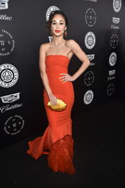 Cara Santana looked radiant in a strapless red mermaid gown by Rami Al Ali at the Art of Elysium Heaven Gala.