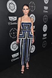 Jordana Brewster styled her dress with black ankle-strap peep-toes.