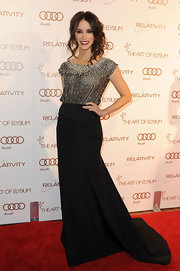 Abigail Spencer wore a black evening dress with a beaded bodice for the Art of Elysium Gala.