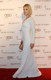 Ali Larter looked refined in a white long-sleeve evening dress for the Art of Elysium Gala.