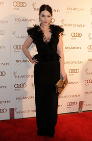 Michelle Trachtenberg wore this tulle-adorned black column dress for the Art of Elysium Gala.