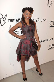 Shanola Hampton showed off her fun and flirty style with this asymmetrical floral cocktail dress.