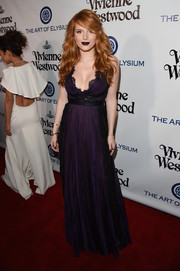 Bella Thorne was a goth beauty at the Heaven Gala in a pleated purple lace-trim gown by Marchesa.