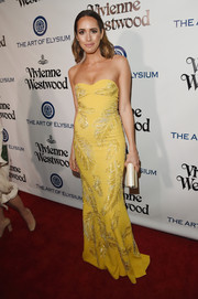 Louise Roe looked dazzling in a feather-beaded strapless gown by Jenny Packham at the Heaven Gala.