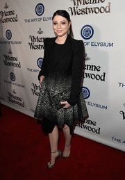 Michelle Trachtenberg finished off her ensemble with a stone-embellished clutch.