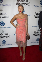 Ashley Madekwe made us swoon with this pink lace-overlay one-shoulder dress by Vivienne Westwood at the Heaven Gala.