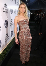 Amber Heard worked a heavily embellished strapless gown by J. Mendel at the Art of Elysium Heaven Gala.