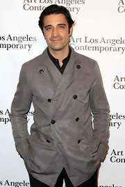 This gray suede double-breasted coat was a classic cover-up for Gilles Marini.
