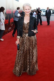 Helen Mirren let her rocker side show on the 'Arthur' red carpet in a leopard print cuffed leather jacket.