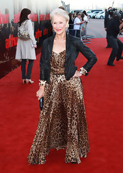 Helen looked magnificent on the red carpet in London wearing a leopard print maxi dress with a cuffed leather jacket.