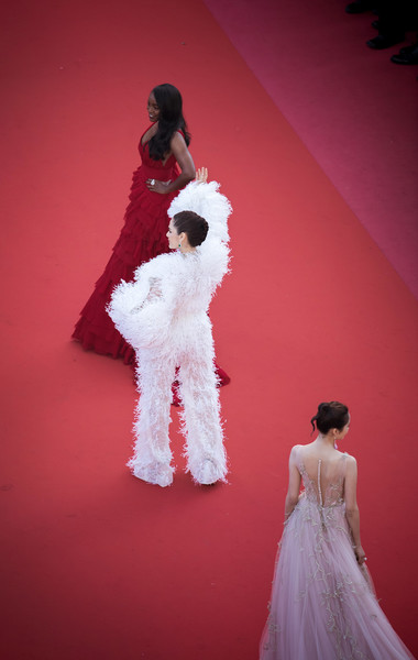 More Pics of Araya A. Hargate Jumpsuit (3 of 16) - Suits Lookbook - StyleBistro [ash is the purest white,red,dress,pink,gown,clothing,fashion,fashion design,wedding dress,shoulder,haute couture,aja naomi king,guan xiaotong,l-r,araya a. hargate,cannes,red carpet arrivals,cannes film festival,screening,palais des festivals]