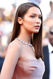Bella Hadid wore her hair in a simple straight style at the Cannes Film Festival screening of 'Ash is the Purest White.'
