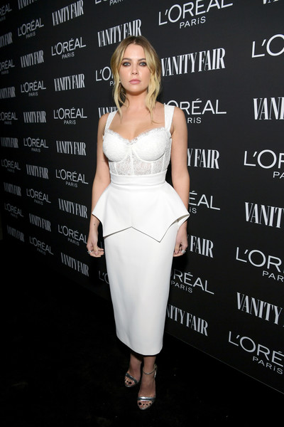Ashley Benson Corset Dress [clothing,dress,cocktail dress,shoulder,fashion,hairstyle,fashion model,footwear,waist,premiere,ashley benson,lor\u00e3,california,los angeles,vanity fair,lor\u00e9al paris celebrate new hollywood,al paris celebrate new hollywood]