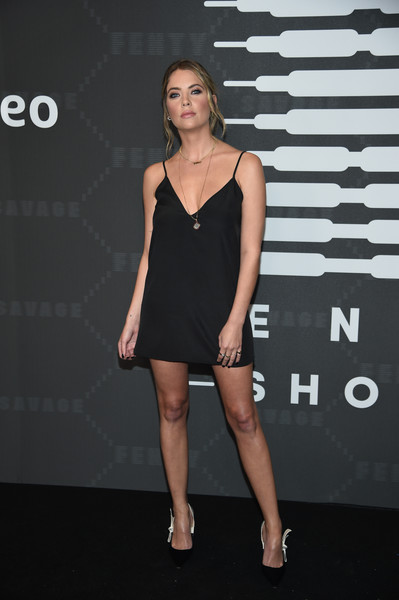 Ashley Benson Little Black Dress [savage x fenty show,clothing,dress,cocktail dress,fashion model,little black dress,fashion,shoulder,leg,footwear,model,video - arrivals,ashley benson,brooklyn,new york,barclays center,amazon prime]