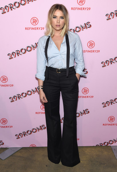 Ashley Benson Wide Leg Pants [clothing,fashion,pantsuit,carpet,premiere,suit,event,fashion design,flooring,red carpet,ashley benson,turn it into art,29rooms,borough,brooklyn,new york city city,refinery29 third,event]