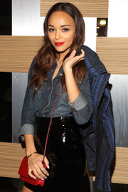 Ashley Madekwe was casual yet chic at the launch of 7 for All Mankind x Malhia Kent in a denim button-down paired with a black patent leather mini.