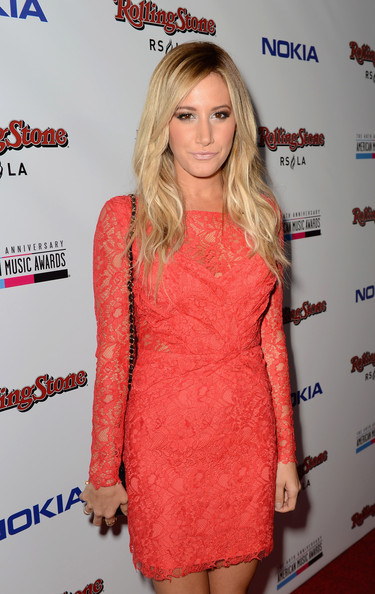 Ashley Tisdale Cocktail Dress [clothing,cocktail dress,red,dress,hairstyle,shoulder,orange,premiere,fashion,long hair,ashley tisdale,american music awards,rolling stone restaurant and lounge,los angeles,california,rolling stone magazine,nokia,vip,party,rdio - red carpet]