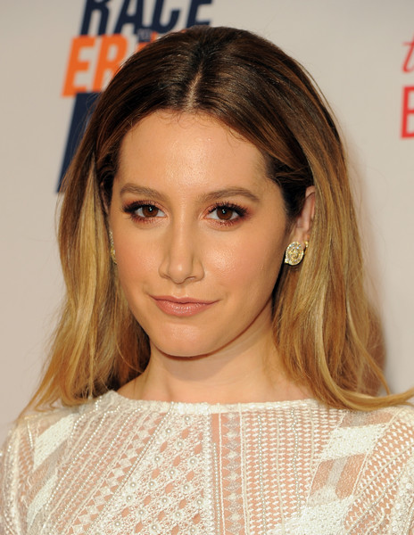 Ashley Tisdale Long Center Part [hair,face,hairstyle,eyebrow,blond,brown hair,chin,layered hair,beauty,hair coloring,ashley tisdale,red carpet,beverly hills,california,the beverly hilton hotel,race,annual race to erase ms gala]