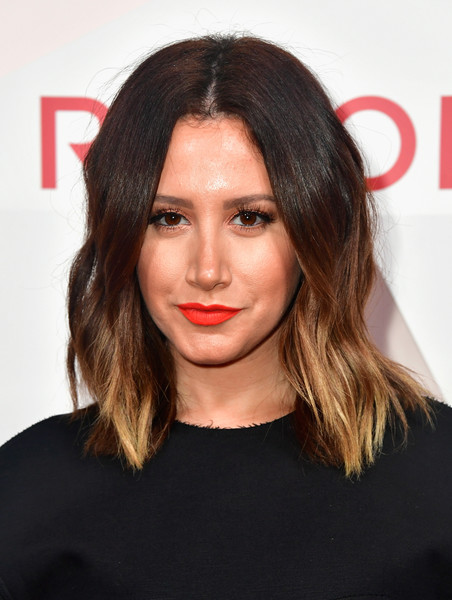 Ashley Tisdale Medium Wavy Cut [hair,face,hairstyle,lip,eyebrow,chin,beauty,brown hair,black hair,layered hair,revolveawards - arrivals,ashley tisdale,revolveawards,dream hollywood,hollywood,california]