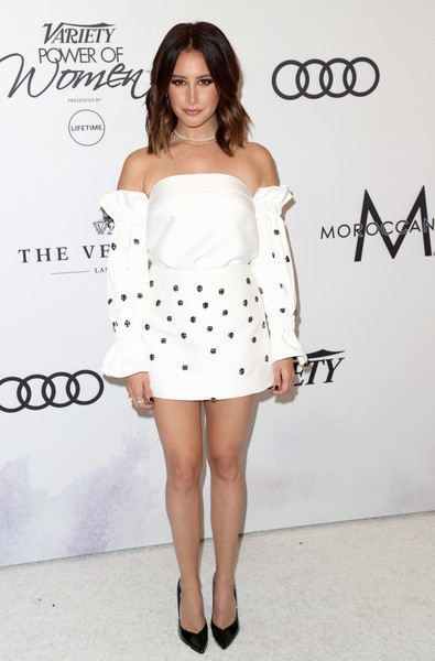 Ashley Tisdale Off-the-Shoulder Top [clothing,shoulder,white,dress,joint,hairstyle,cocktail dress,strapless dress,fashion,fashion model,variety,power of women,los angeles,beverly hills,california,beverly wilshire four seasons hotel,ashley tisdale,arrivals]