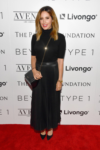Ashley Tisdale Turtleneck [clothing,dress,little black dress,red carpet,hairstyle,carpet,cocktail dress,premiere,shoulder,flooring,actress,ashley tisdale,beyond la cocktail party benefiting beyond type 1,california,hollywood,the avenue,la cocktail party benefiting beyond type 1,beyond la host committee]