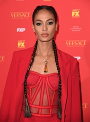 Joan Smalls styled her long tresses into a pair of braids for the New York screening of 'The Assassination of Gianni Versace: American Crime Story.'