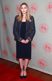 Elizabeth Olsen wore this simple navy dress to the 'Bring it on Home' Gala.
