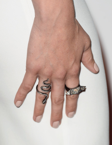 Aubrey Plaza Snake Ring [finger,hand,nail,skin,ring,joint,gesture,wedding ring,wrist,flesh,arrivals,aubrey plaza,fashion detail,the beverly hilton hotel,beverly hills,california,broadcast television journalists association,third annual critics choice television awards]