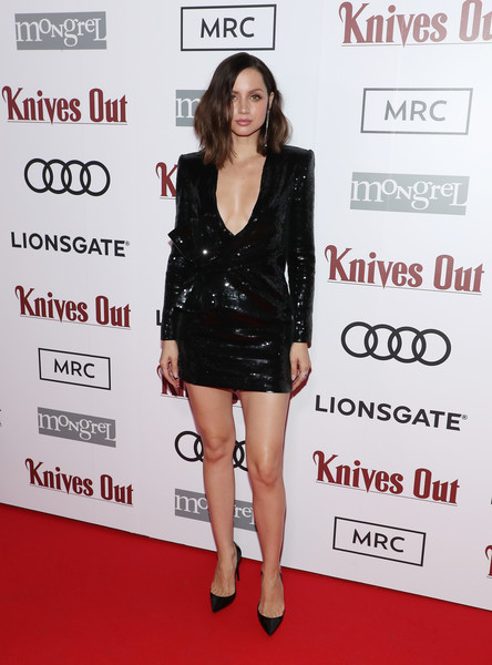 More Pics of Ana de Armas Sequin Dress (1 of 2) - Dresses & Skirts Lookbook - StyleBistro [knives out,clothing,carpet,red carpet,dress,cocktail dress,fashion,little black dress,footwear,joint,premiere,ana de armas,mrc co-host,audi canada,lionsgate,mongrel media,mrc,event,event,the toronto international film festival]