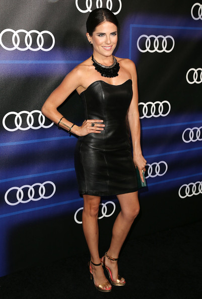 Karla Souza sizzled in a leather strapless LBD.