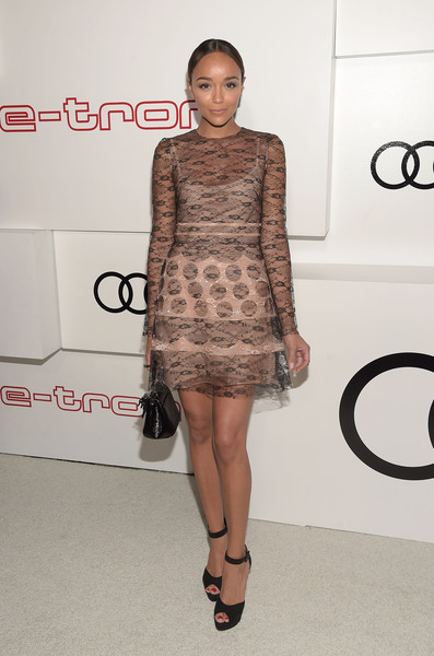 Ashley Madekwe chose black ankle-strap peep-toes to polish off her look.
