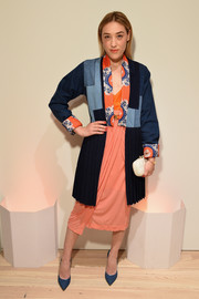 Mia Moretti looked uber stylish in a multicolored, mixed-material coat during Audi's celebration of its partnership with the Whitney Museum.