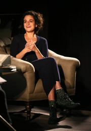 Jenny Slate sported a pair of green leopard-print lace-up boots at the Audible launch event.